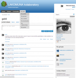 drupal Commons lakomuna User Page